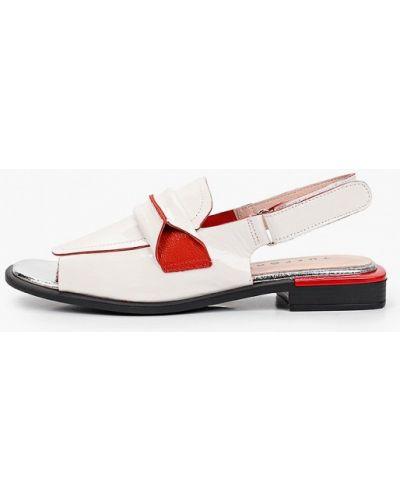 Лаковые белые кожаные сандалии Tuffoni