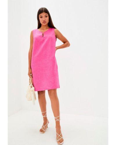 Льняное розовое платье мини Прованс