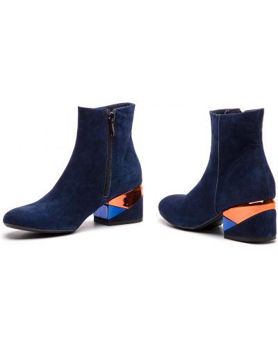 Ботильоны на каблуке - синие Maccioni
