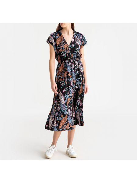 Платье миди с короткими рукавами - черное Best Mountain