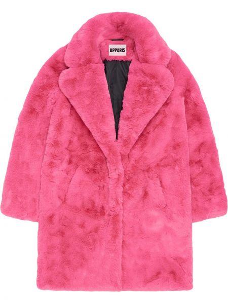 Różowy płaszcz materiałowy z długimi rękawami Apparis