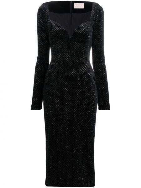 Wyposażone włókienniczy z rękawami czarny długo sukienka Christopher Kane