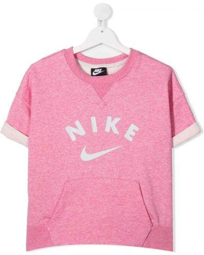 Хлопковая розовая с рукавами футболка Nike Kids