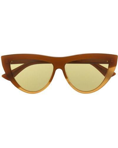 Золотистые желтые солнцезащитные очки Bottega Veneta Eyewear
