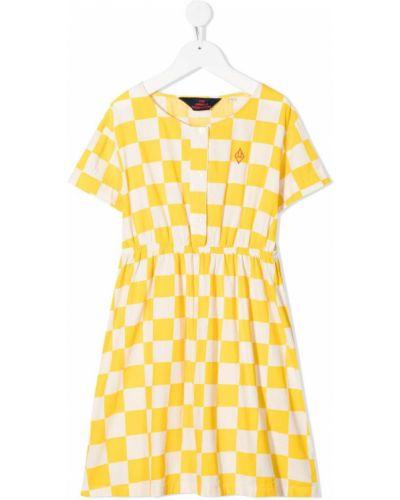 Żółta sukienka mini krótki rękaw z haftem The Animals Observatory