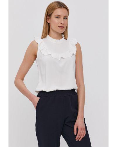 Biała bluzka z falbanami bez rękawów Hailys