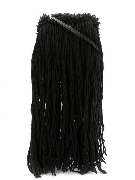 Шерстяная черная сумка на плечо с бахромой Discord Yohji Yamamoto