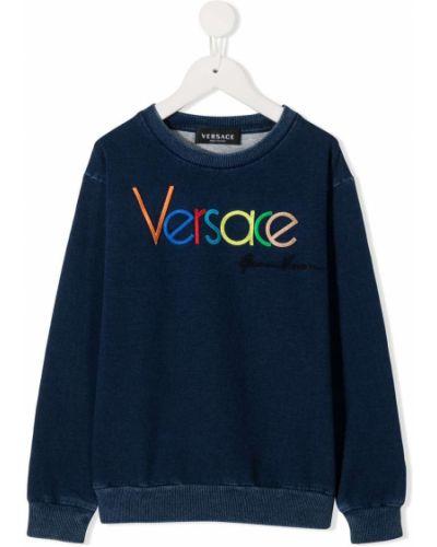 Niebieska bluza z długimi rękawami bawełniana Young Versace