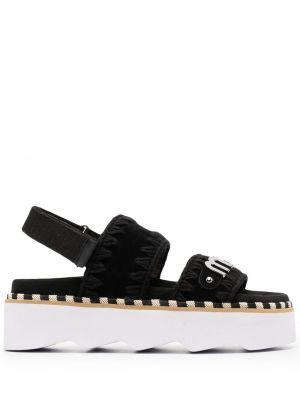 Czarne sandały skorzane peep toe Mou