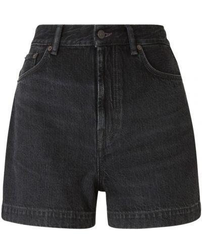 Czarne jeansy skorzane zapinane na guziki Acne Studios