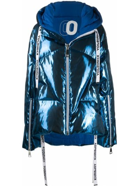 Синяя куртка с капюшоном с манжетами металлическая с перьями Khrisjoy