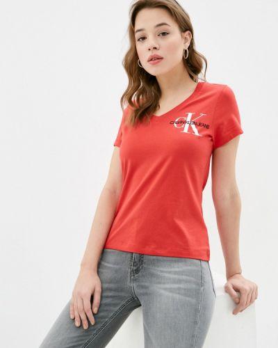 Красная футболка с короткими рукавами Calvin Klein Jeans