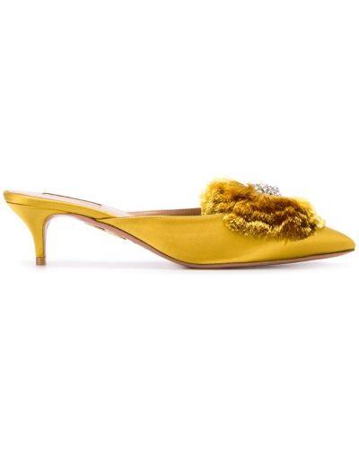 Мюли на каблуке желтый Aquazzura