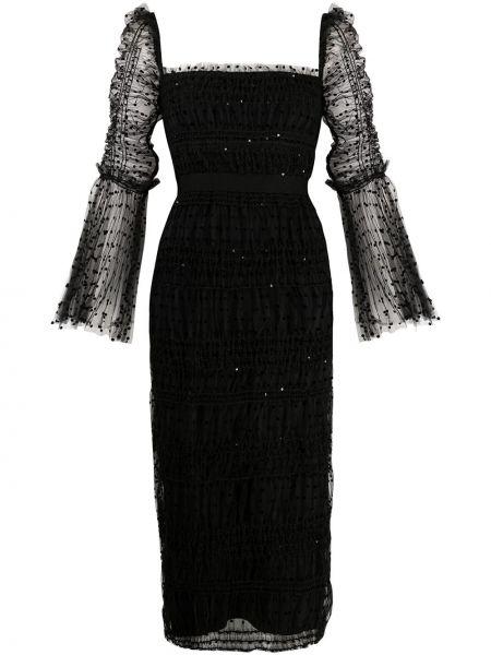 Черное платье миди в горошек с вырезом Self-portrait