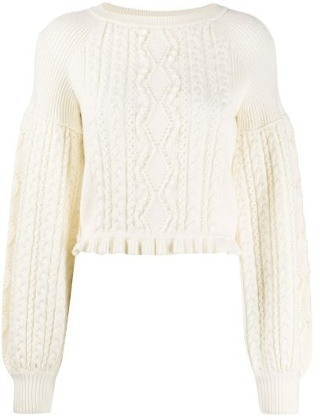 С рукавами белый шерстяной свитер с круглым вырезом Ports 1961
