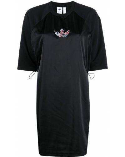 Прямое черное платье мини с вышивкой Adidas