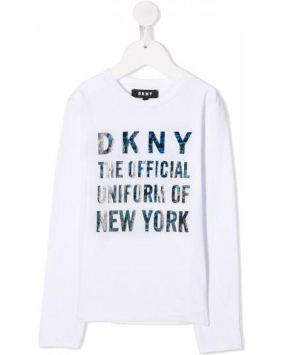 Хлопковый белый топ с длинными рукавами Dkny Kids