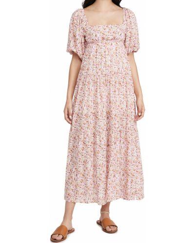 Платье миди в цветочный принт с декольте квадратное Minkpink