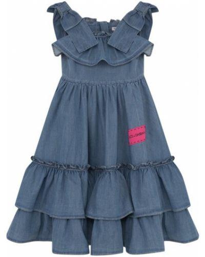 Платье на бретелях с бантом Dolce & Gabbana