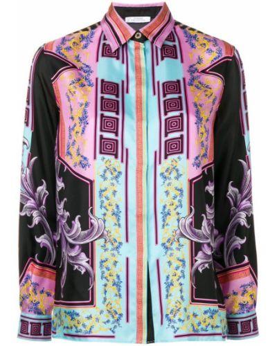 Классическая черная классическая рубашка на пуговицах Versace Collection
