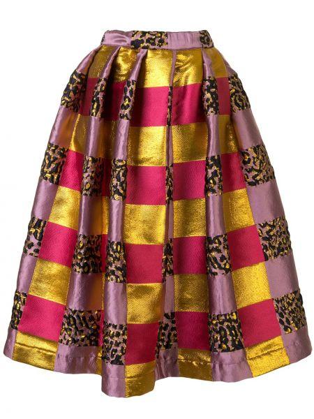 Фиолетовая шелковая юбка в клетку Comme Des Garçons