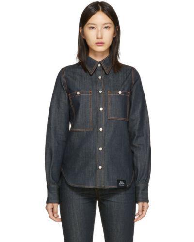 Niebieski włókienniczy z rękawami koszula jeansowa z mankietami S.r. Studio. La. Ca.