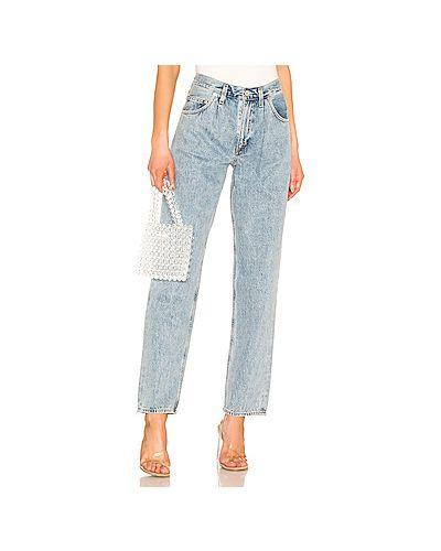 Широкие джинсы синие на пуговицах Agolde