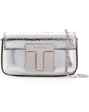 Серебряная кожаная сумка с декоративной отделкой металлическая с карманами Tom Ford