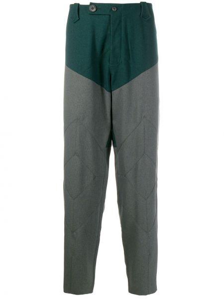 Zielone spodnie bawełniane z paskiem Kiko Kostadinov