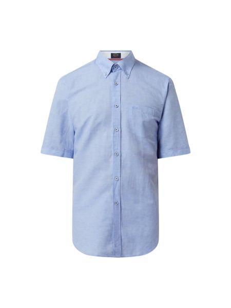 Niebieska koszula bawełniana krótki rękaw Paul & Shark