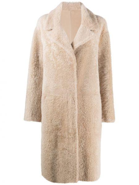 Однобортное бежевое длинное пальто из верблюжьей шерсти двустороннее Drome