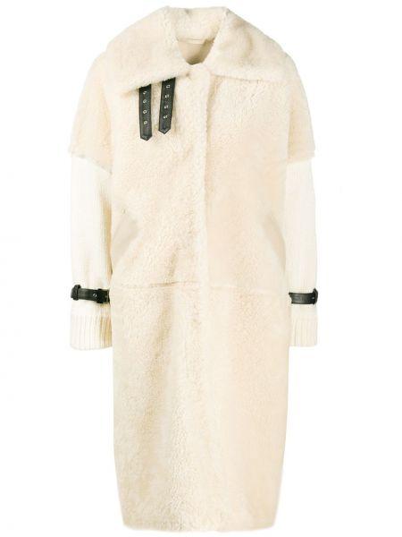 Бежевое кожаное вязаное длинное пальто S.w.o.r.d 6.6.44
