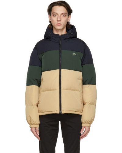 С рукавами бежевая длинная куртка с капюшоном Lacoste