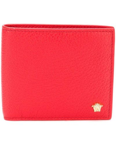 Красный кошелек кожаный Versace