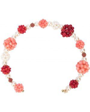 Opaska na głowę biały z koralikami Gigi Burris Millinery