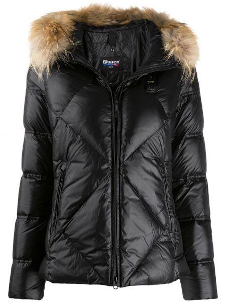 Куртка с капюшоном черная стеганая Blauer
