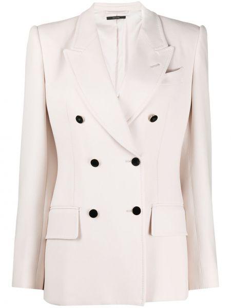 Белый пиджак двубортный с карманами Tom Ford