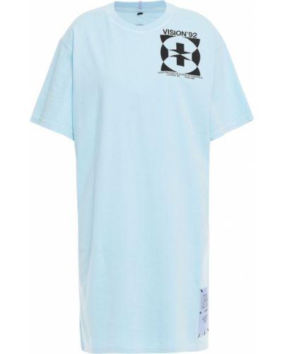 Трикотажное синее платье мини с заплатками Mcq Alexander Mcqueen