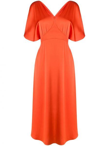 Хлопковое платье миди - оранжевое Stella Mccartney