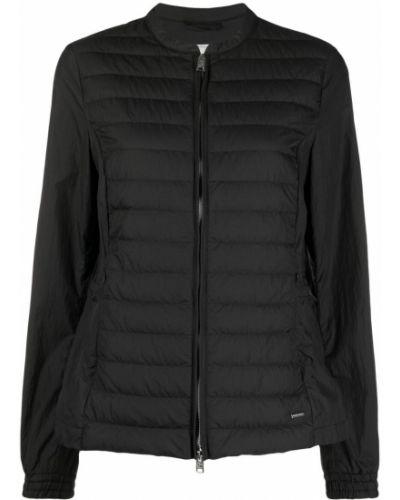Пуховая черная длинная куртка с карманами Woolrich