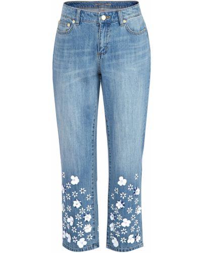Укороченные джинсы с эффектом потертости с аппликацией Michael Michael Kors