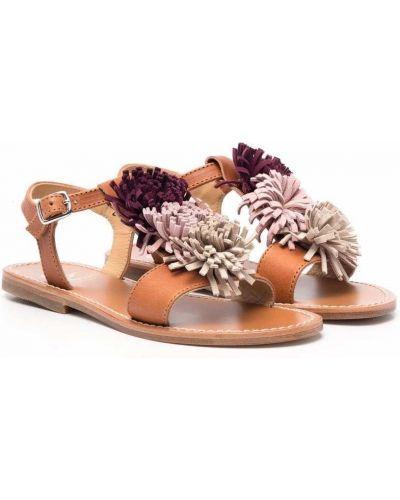 Różowe sandały skorzane peep toe Gallucci Kids