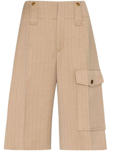 Шерстяные коричневые деловые шорты с карманами Chloé