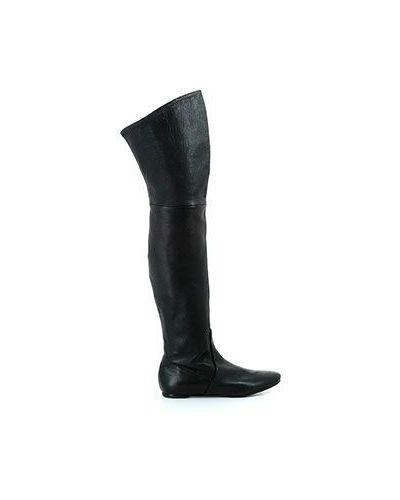 Черные кожаные ботфорты Casadei