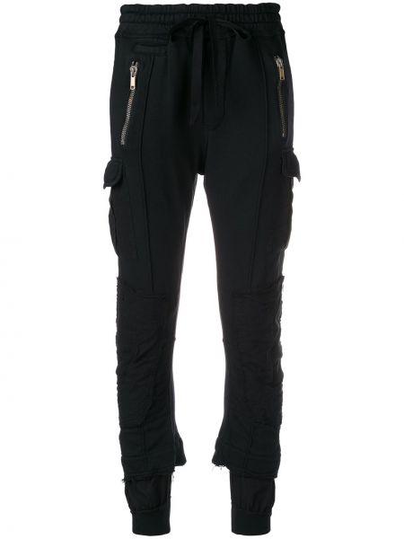 Хлопковые черные зауженные спортивные брюки с поясом Haider Ackermann