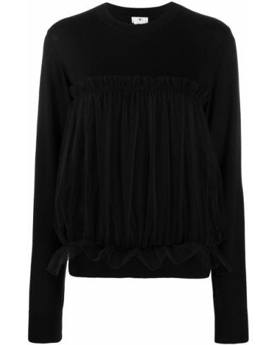 Шерстяной черный джемпер в рубчик с вырезом Comme Des Garçons Noir Kei Ninomiya