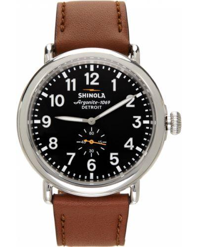 Biały zegarek na skórzanym pasku srebrny z klamrą Shinola
