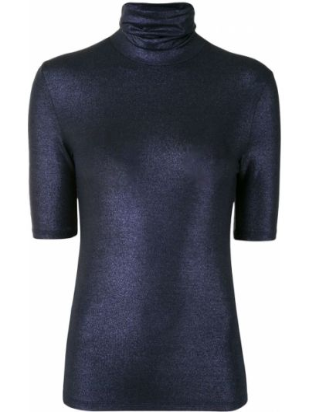 Приталенный темно-синий вязаный топ металлический Majestic Filatures