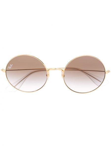 Прямые желтые солнцезащитные очки круглые Ray-ban