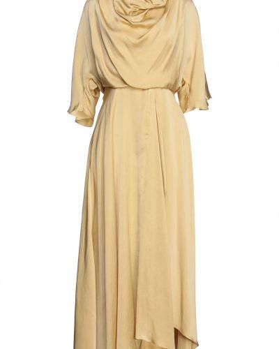 Żółta satynowa sukienka midi Roksanda